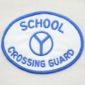 USAアドバタイジングワッペン School スクール(ホワイト&ブルー/オーバル)|wappenstore