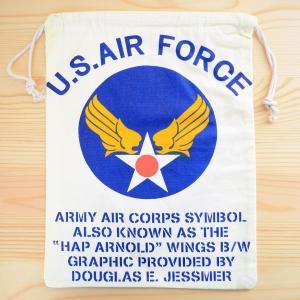 アメリカンロゴ巾着袋(L) USエアフォース(アメリカ空軍) U.S.Air Force LJK-L001 wappenstore