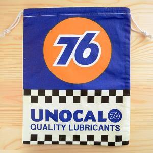 アメリカンロゴ巾着袋(L) 76ルブリカンツ(ナナロクオイル) LJK-L004 wappenstore