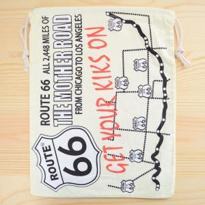 アメリカンロゴ巾着袋(L) ルート66 Route66 LJK-L011|wappenstore