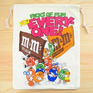 アメリカンロゴ巾着袋(L) M&M's エムアンドエムズチョコレート LJK-L016|wappenstore