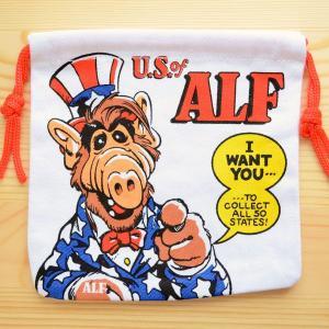アメリカンキャラ巾着袋(S) アルフ(アンクルサム) LJK-S006|wappenstore