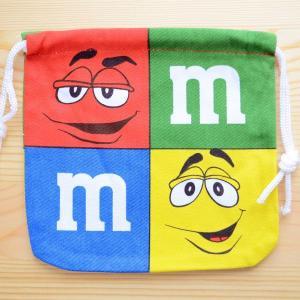 アメリカンキャラ巾着袋(S) M&M's エムアンドエムズ チョコレート LJK-S022|wappenstore