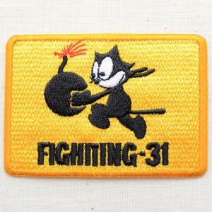 ミリタリーワッペン Fighting-31 フィリックスザキャット(イエロー/レクタングル)|wappenstore