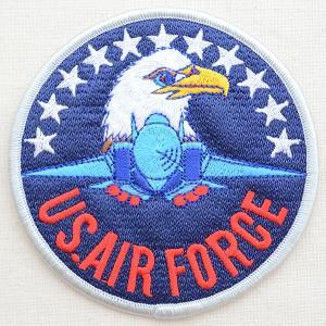 ミリタリーワッペン U.S.Air Force エアフォース アメリカ空軍(ワシ&戦闘機/ラウンド/L)|wappenstore