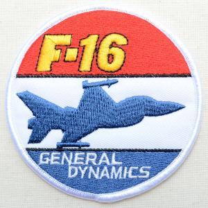 ミリタリーワッペン F-16 General Dynamics アメリカ空軍(戦闘機/ラウンド)|wappenstore