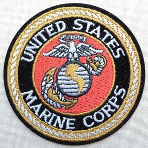 ミリタリーワッペン U.S.Marine Corps アメリカ海兵隊(ゴールド/ラウンド)|wappenstore