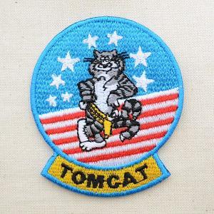 ミリタリーワッペン トムキャット Tomcat アメリカ海軍(ねこ/星条旗) Mサイズ