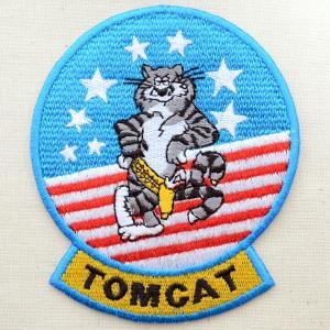 ミリタリーワッペン トムキャット Tomcat アメリカ海軍(ねこ/星条旗) Lサイズ