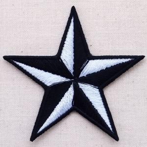 ワッペン 星/スター(ホワイト&ブラック)|wappenstore
