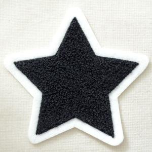 もこもこワッペン 星/スター(ブラック)|wappenstore