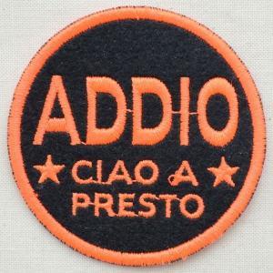 ワッペン Addio(ブラック&オレンジ/ラウンド) 名前 作り方 MTW-061|wappenstore