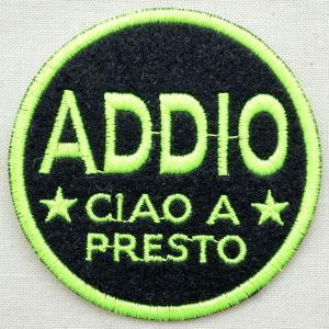 ワッペン Addio(ブラック&グリーン/ラウンド) 名前 作り方 MTW-062|wappenstore