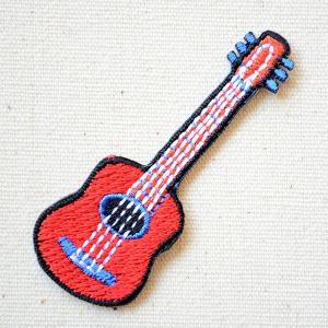 ワッペン ギター/Guitar 楽器 レッド(SSサイズ) 名前 作り方 MTW-306|wappenstore