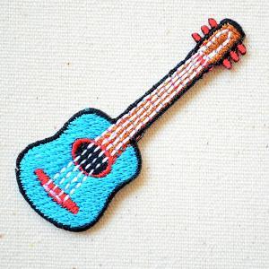 ワッペン ギター/Guitar 楽器 ブルー(SSサイズ) 名前 作り方 MTW-307|wappenstore