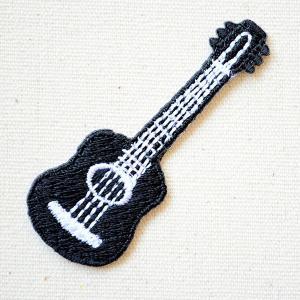 ワッペン ギター/Guitar 楽器 ブラック(SSサイズ) 名前 作り方 MTW-308|wappenstore