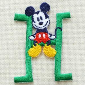 アルファベットワッペン ディズニー ミッキーマウス(H/グリーン) MY4001-MY308|wappenstore