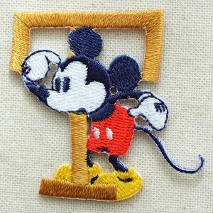 アルファベットワッペン ディズニー ミッキーマウス(T/イエローゴールド) MY4001-MY316 wappenstore