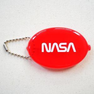 ラバーコインケース NASA/ナサ(クリアレッド) 小銭入れ キーホルダー アメリカ製 NOA-001-WR|wappenstore