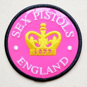 音楽ワッペン SEX PISTOLS/セックスピストルズ ENGLAND(ピンク) バンド ミュージック ロック 名前 作り方 P-3210|wappenstore