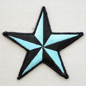 ワッペン 星/スター(ライトブルー&ブラック) PATCH-0614|wappenstore