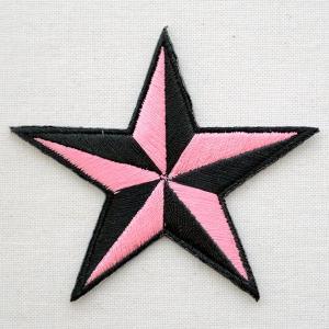 ワッペン 星/スター(ピンク&ブラック) PATCH-0615|wappenstore