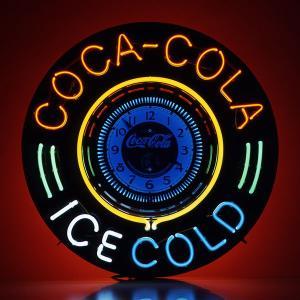 コカコーラ Coca-Cola 壁掛け時計/ビッグネオンサインクロック(アイスコールド) PJ-NSB1 *送料無料 *代引不可 wappenstore