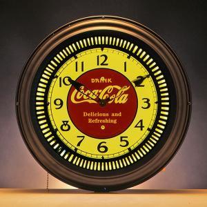 コカコーラ Coca-Cola 壁掛け時計/ラウンドネオンクロック(ドリンク) PJC-300G *送料無料 *代引不可|wappenstore