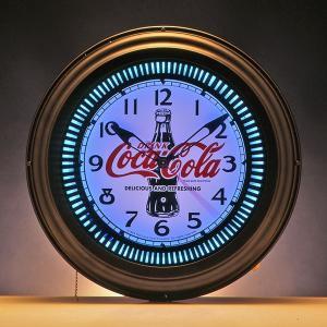 コカコーラ Coca-Cola 壁掛け時計/ラウンドネオンクロック(ボトル) PJC-700G *送料無料 *代引不可|wappenstore