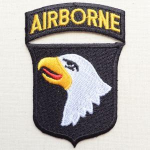 ミリタリーワッペン Airborne エアボーン イーグル エンブレム(ブラック&ホワイト) PM0097|wappenstore