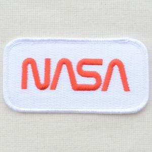 ロゴワッペン NASA ナサ(ホワイト&レッド/レクタングル)|wappenstore