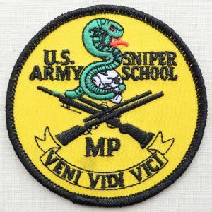 ミリタリーワッペン Sniper School スナイパースクール(蛇/ラウンド) PM0585|wappenstore
