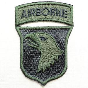 ミリタリーワッペン Airborne エアボーン イーグル エンブレム(カーキ&ブラック) PM0707|wappenstore