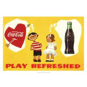 コカコーラ Coca-Cola ポスター(ボーイ&ガール/51x72cm) PO-C19 *メール便不可|wappenstore