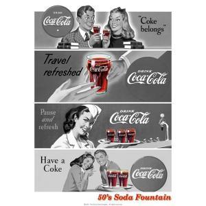 コカコーラ Coca-Cola ポスター(ソーダファウンテン/72x51cm) PO-C25 *メール便不可|wappenstore