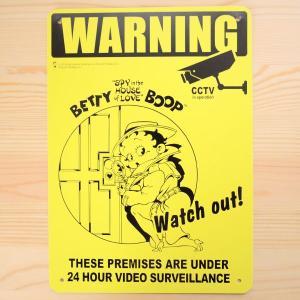 看板/プラサインボード ベティブープ Betty Boop ワーニング(イエロー) *メール便不可|wappenstore