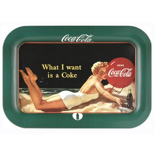 コカコーラ Coca-Cola トレイ(ビーチガール/レクタングル) PT-05A *メール便不可|wappenstore