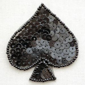 ワッペン スペード Spade(ブラック/スパンコール)|wappenstore