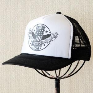 帽子/メッシュキャップ トラックブランド Racing(ブラック&ホワイト) C30 [メール便不可] wappenstore