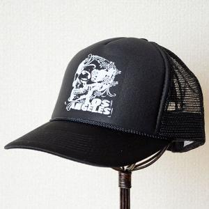 帽子/メッシュキャップ トラックブランド Down(スカルLA/ブラック) MG60 [メール便不可]|wappenstore