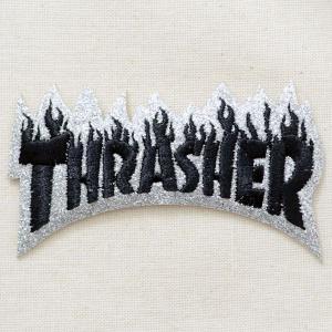 ロゴワッペン Thrasher スラッシャー(ラメ/シルバー) W293|wappenstore