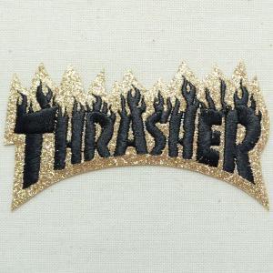 ロゴワッペン Thrasher スラッシャー(ラメ/ゴールド) W294|wappenstore
