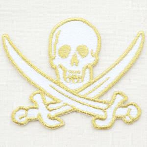 ワッペン Skull クロスソードスカル(どくろ/ゴールド) W413|wappenstore