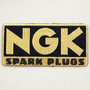 ロゴワッペン NGK スパークプラグス(ゴールド/レクタングル) WD0101|wappenstore