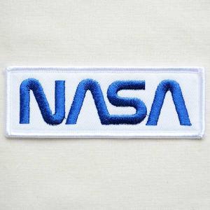 ロゴワッペン NASA ナサ(ホワイト&ブルー/レクタングル) WM0051|wappenstore