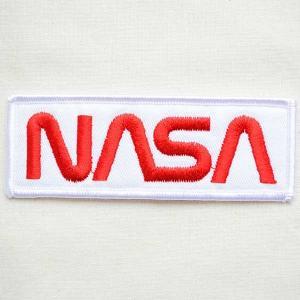 ロゴワッペン NASA ナサ(ホワイト&レッド/レクタングル) WM0052|wappenstore