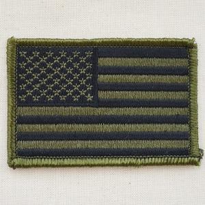 ミリタリーワッペン USA アメリカ国旗/星条旗(OD/カーキ) Mサイズ WM0088|wappenstore