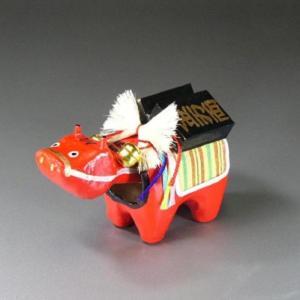 万両べこ(小)日本のお土産会津張子赤べこ 約 12.0×8.5×6.0(cm)|warabi