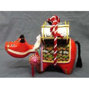 万両ベコ(1尺)日本のお土産会津張子赤べこ 約 37.0×23.0×15.0(cm)|warabi