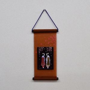 会津塗 ミニ短冊(タペストリー・壁掛け) 舞妓 日本のお土産会津のお土産 warabi